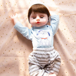 21 Inches Blue Dog Outfit Lifelike Baby Boy Doll with Blue Eyes