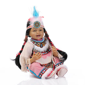 "Series: 22"" Native American Lifelike Baby Girl Doll Smiling"