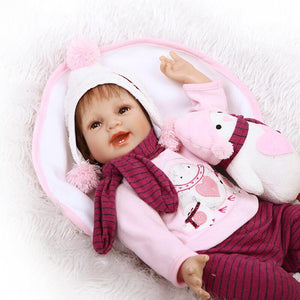 Christmas Real Born Silicone Girl with Penguin Doll-Banydoll