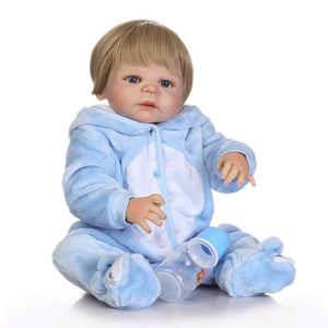 Cool Silicone Vinyl Reborn Doll With Blue Coverall-Banydoll
