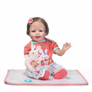 Happy Nola Lifelike Baby Girl with Plush Coney Doll-Banydoll