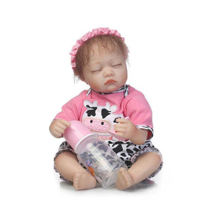 Lifelike Slumbering Girl Baby Vera with Baby Bottle-Banydoll