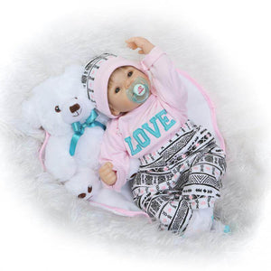 LOVE Girl Doll Silicone Baby with White Bear-Banydoll