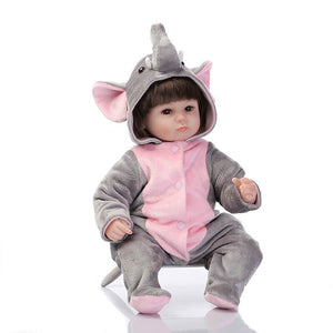 Playable Reborn Baby Doll Zenia With Elephant Onesies-Banydoll