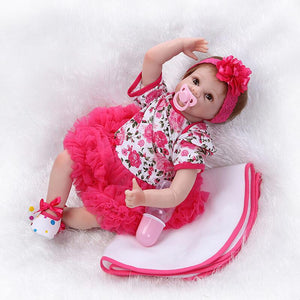 Wearing Red One-piece Dress Baby Doll Girl Rhea-Banydoll