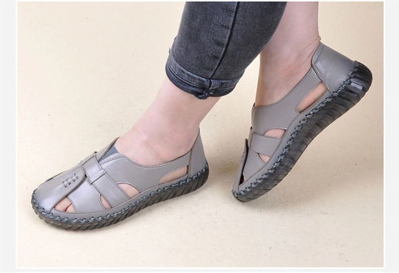 BESTWALK™ Hook Loop Wedge Close Toe Sandals