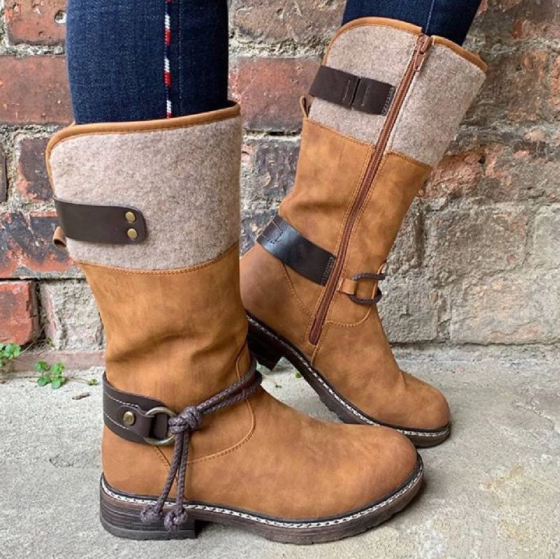 2019 Women Vintage Casual Mid Calf Boots