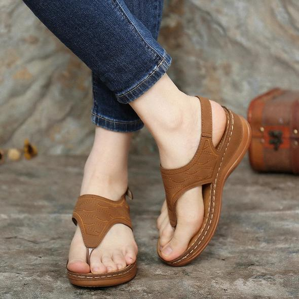 Women Embroidery Clip Toe Elastic Band Comfy Casual Summer Wedge Sandals