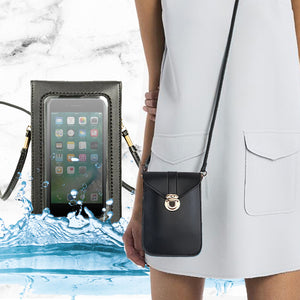 Touch Screen Waterproof Leather Crossbody Phone Bag for iPhone, Galaxy & Other