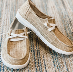 Bamboo Fiber Canvas Lace-Up Loafers
