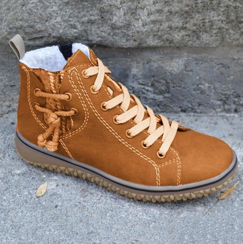 Women Fashion Flat Heel Lace-Up Sneakers