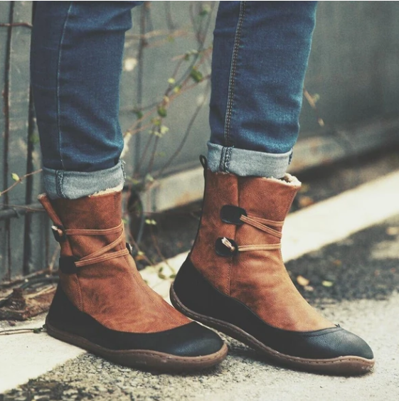 2020 New Leather Women Ankle Boots