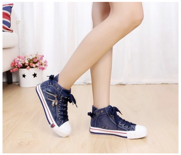 Women Denim High-Top Back Canvas Sneakers