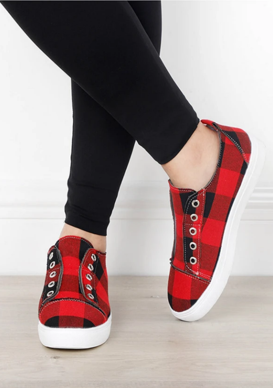 2020 New Arrival Plaid Slip-On Round Toe Flat Sneakers