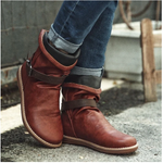 Women's Leather Buckle Round Toe Comfort Boots