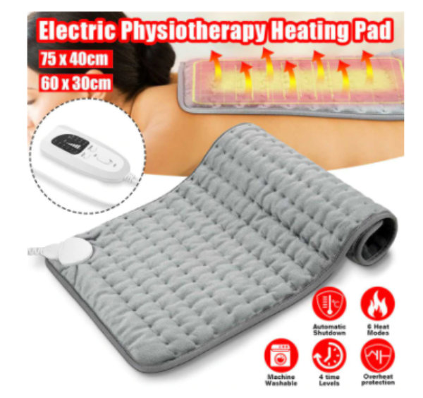 6 Levels Extra Large Electric Heating Pad for Back Pain and Cramps Relief