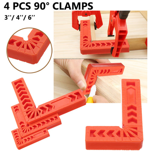 4Pcs 3/4/6 inch 90 Degrees Right Angle Clamps Corner Clamp Ruler