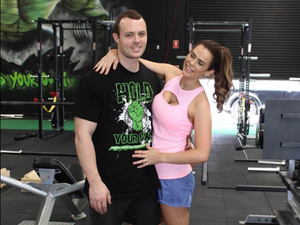 Sophie Guidolin postpartum and Nathan Wallace at the gym