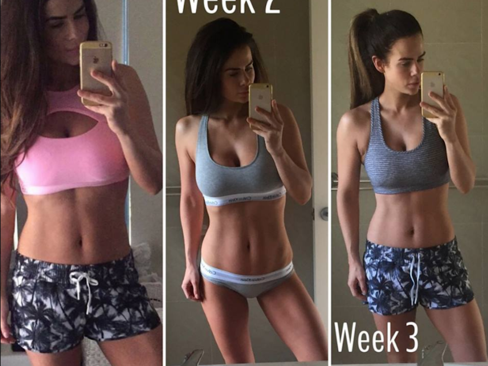 Sophie Guidolin postpartum progress photo from week 1, 2 and 3