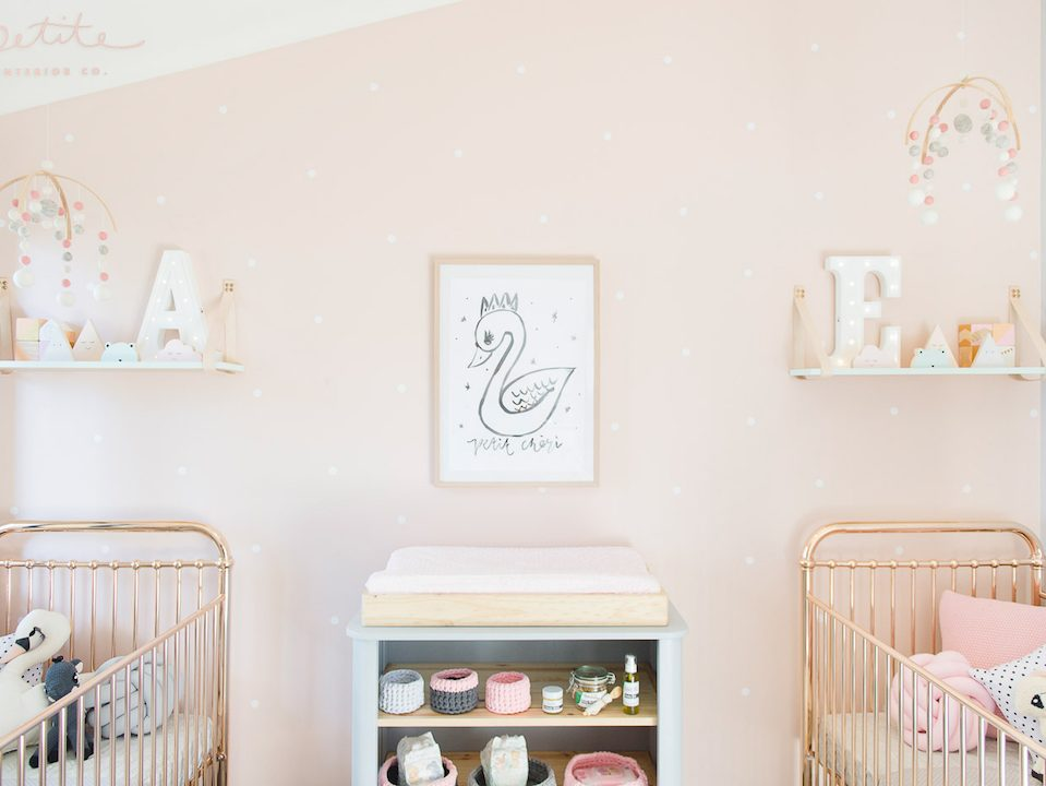 Incy Rose Gold Cot|Evie and Aria's nursery room with rose gold cots and baby pink decor|Evie and Aria's newborn nursery room with delicate decor and pink and blue colours