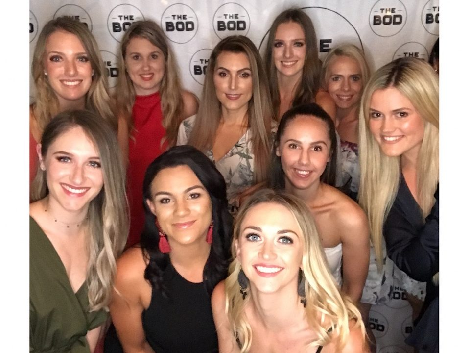 Little Mermaid Afterparty Photo with Bod Babes|The Bod Weekend with girls doing a squat hold||