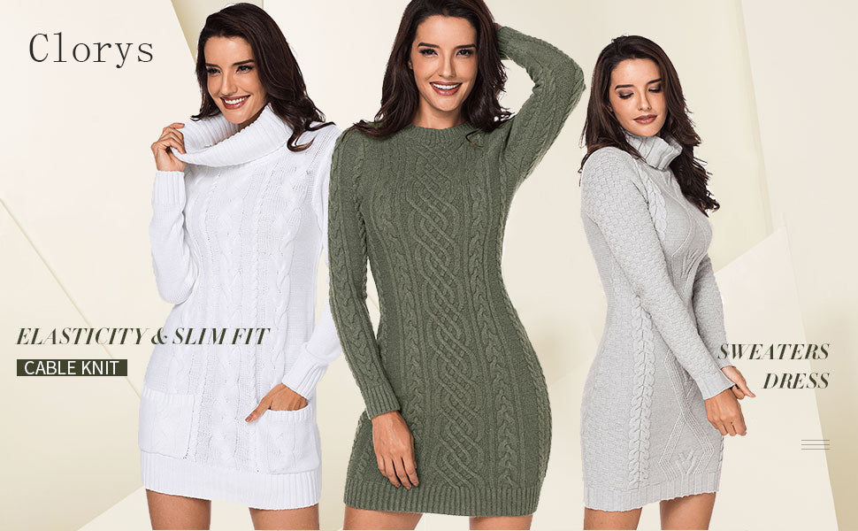 Knit Long Sleeve Sweaters Dress