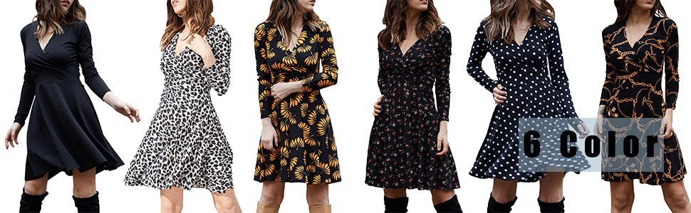 Women's V Neck Long Sleeve Swing Midi Dress