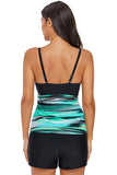 ish Tie Dye Striped Strappy High Neck Tankini Top