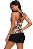 Fuzzy Stripes Strappy Back Tankini Top