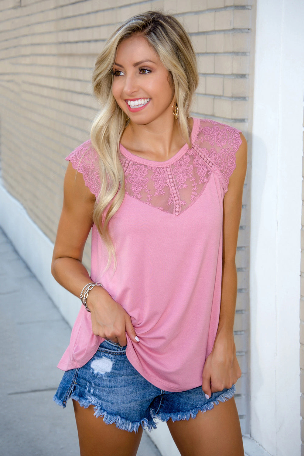 Lace Cape Flowy Tank Top