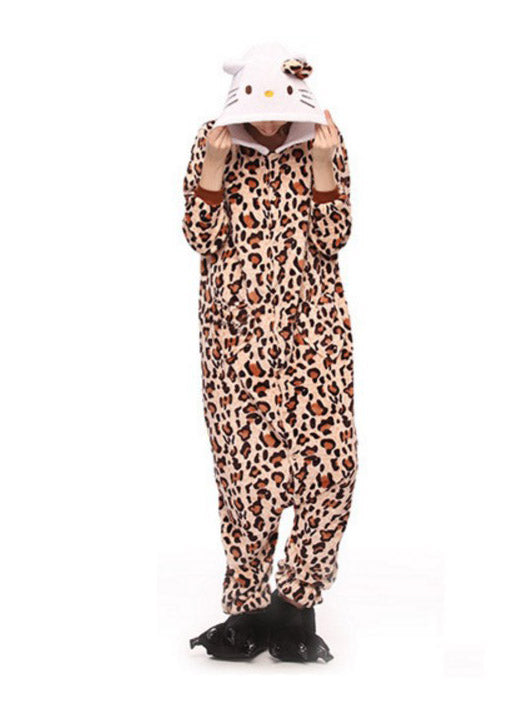 Kitty Leopard Kigurumi Costume Womens Cosplay Pajamas Onesies