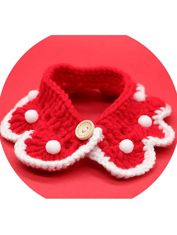 Cat Christmas Collar Xmas Knitted Pet Decor