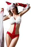 Womens Sexy Halter Fur Top Backless Christmas Santa Lingerie Red