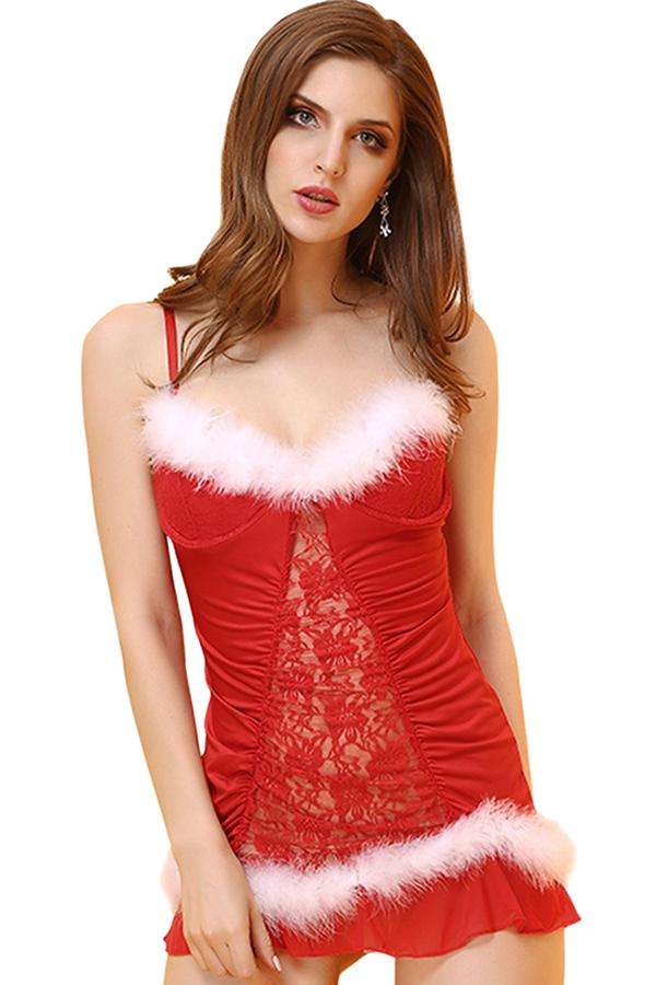 Womens Sexy Lace Spaghetti Straps Santa Costume Christmas Lingerie Red
