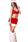 Womens Sexy One Piece Halter Backless Santa Christmas Lingerie Red
