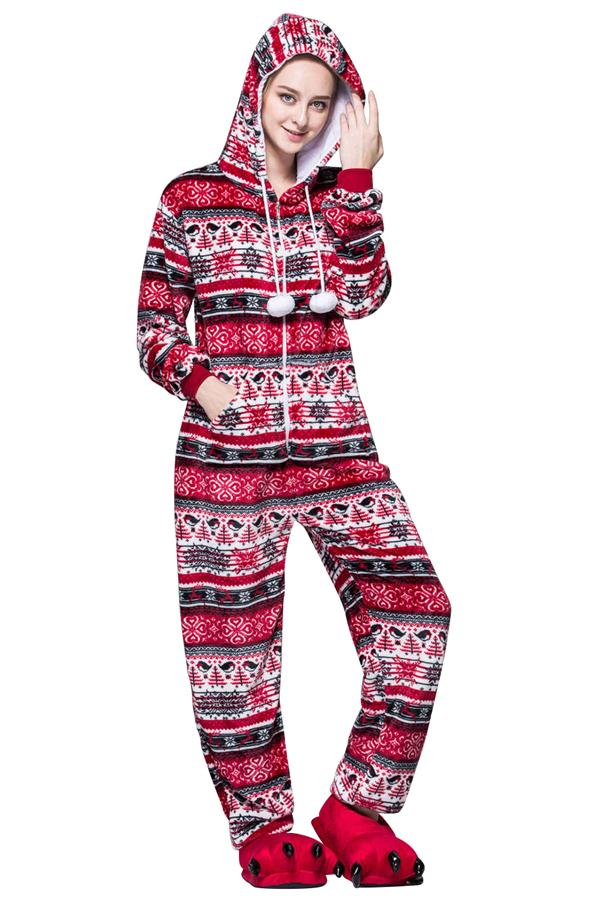 Cute Snowflake Flannel Hooded Zipper Christmas Pajama Red