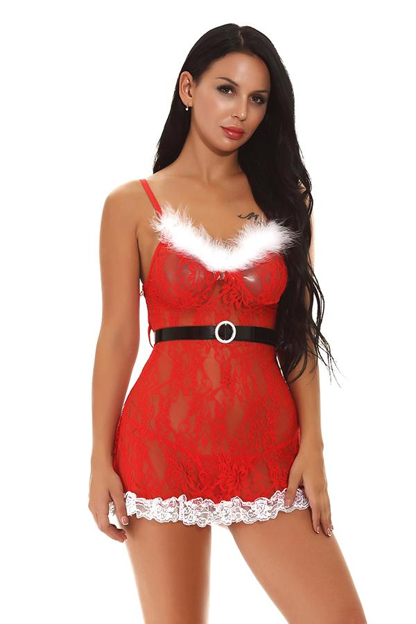 Sexy Lace Sheer Babydoll Christmas Lingerie Red