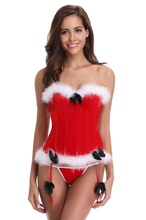 Sexy Strapless Fur Lace Up Santa Christmas Lingerie Red