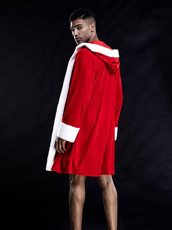 Mens Xmas Cosplay Santa Robe & Underwear