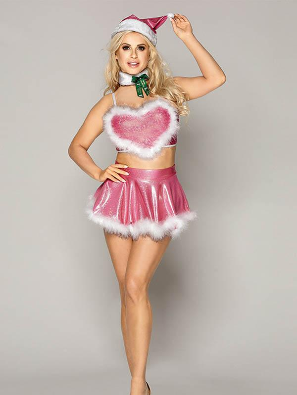 Sexy Heart Christmas Lingerie Set for Womens