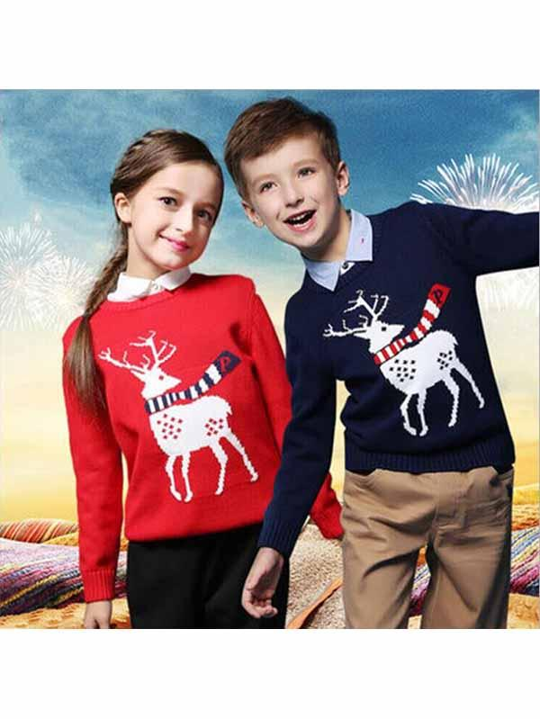Kids Reindeer Knit Funny Christmas Sweater