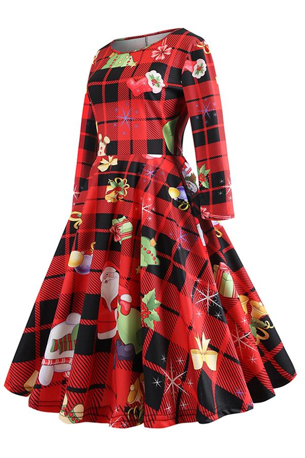Long Sleeve Santa Print Plaid Midi Christmas Skater Dress Ruby