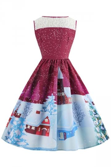 Crew Neck Sleeveless Snow&Tree Print Christmas Skater Dress Purple