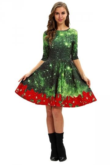 Crew Neck Half Sleeve Galaxy&Flower Print Christmas Dress Dark Green