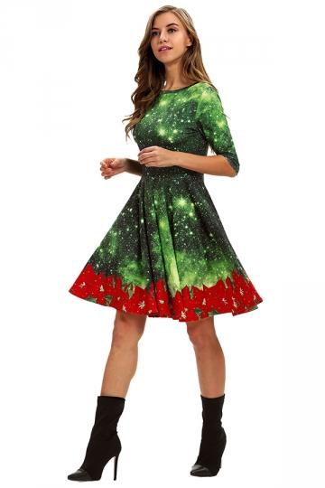 Crew Neck Galaxy&Flower Christmas Dress Dark Green