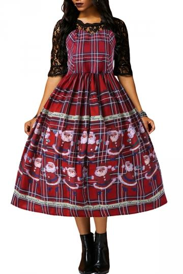 Half Sleeve Lace Patchwork Santa Plaid Christmas Skater Dress Purple