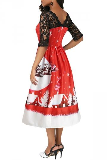 Half Sleeve Lace Patchwork Jingle All The The Way Christmas Dress Red