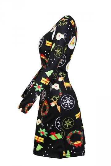 Long Sleeve Christmas Print Holiday Dress Black