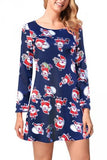Santa Cute Christmas Dress Navy Blue