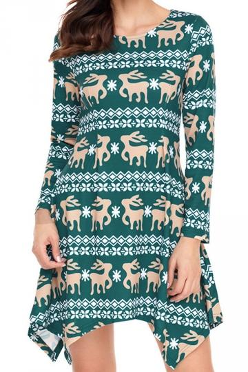Womens Reindeer Christmas Dress Long Sleeve Green